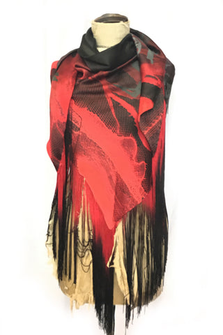 DAISY DARCHE HERA FRINGE PRINTED SILK SATIN SHAWL  IN LACE RED