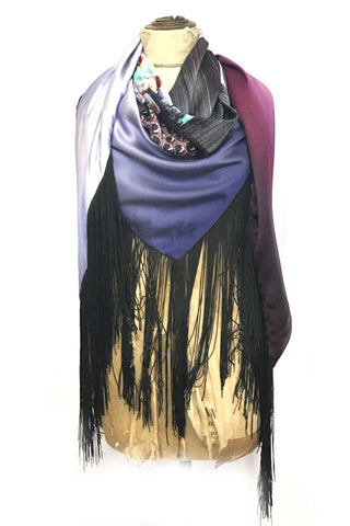 DAISY DARCHE HERA FRINGE PRINTED SILK SATIN SHAWL IN BOUQUET PRINT