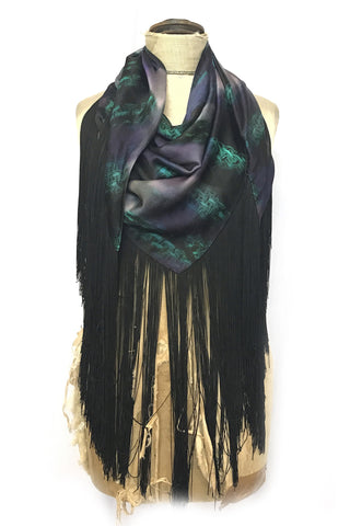 DAISY DARCHE HERA FRINGE PRINTED SILK SATIN SHAWL IN GREEN TWEED BLOCKS