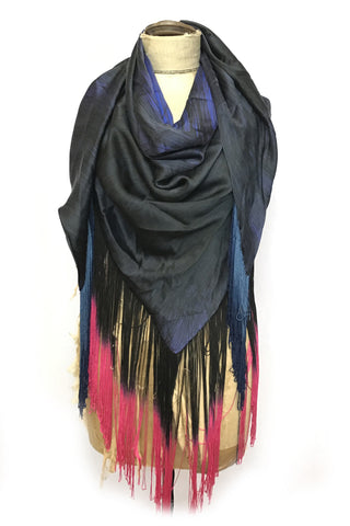 DAISY DARCHE HERA OMBRE FRINGE BLACK PINK SHAWL PRINT SILK LINES COBALT
