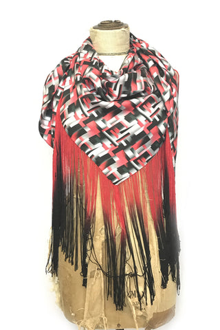 DAISY DARCHE HERA OMBRE FRINGE PRINTED SILK SATIN SHAWL IN RED BLOCKS PRINT