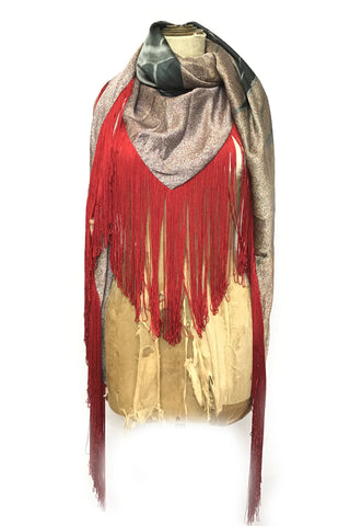 DAISY DARCHE HERA RED FRINGE SHAWL PRINT SILK TREE GREY