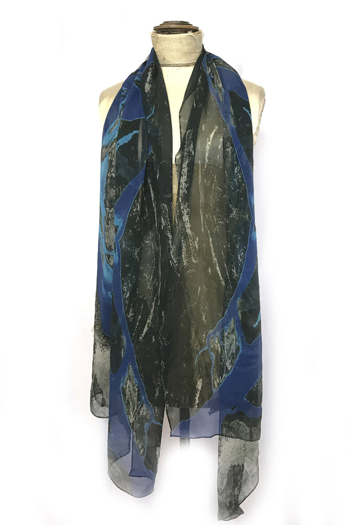 DAISY DARCHE PRINTED SILK GEORGETTE SCARF IN LAND BLUE PRINT
