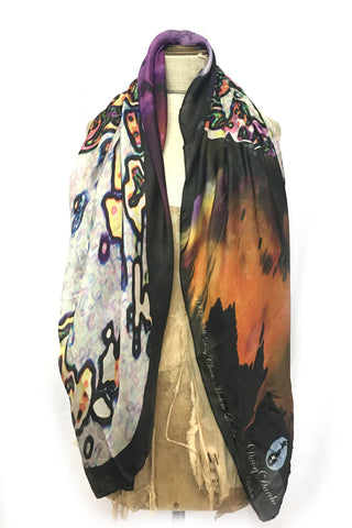 DAISY DARCHE PRINTED SILK HABOTAI LE GRAND CARRE SCARF IN OGEE PRINT