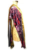 DAISY DARCHE PRINT SILK SATIN GOLD VELVET OPERA SCARF SPLASH RED PURPLE