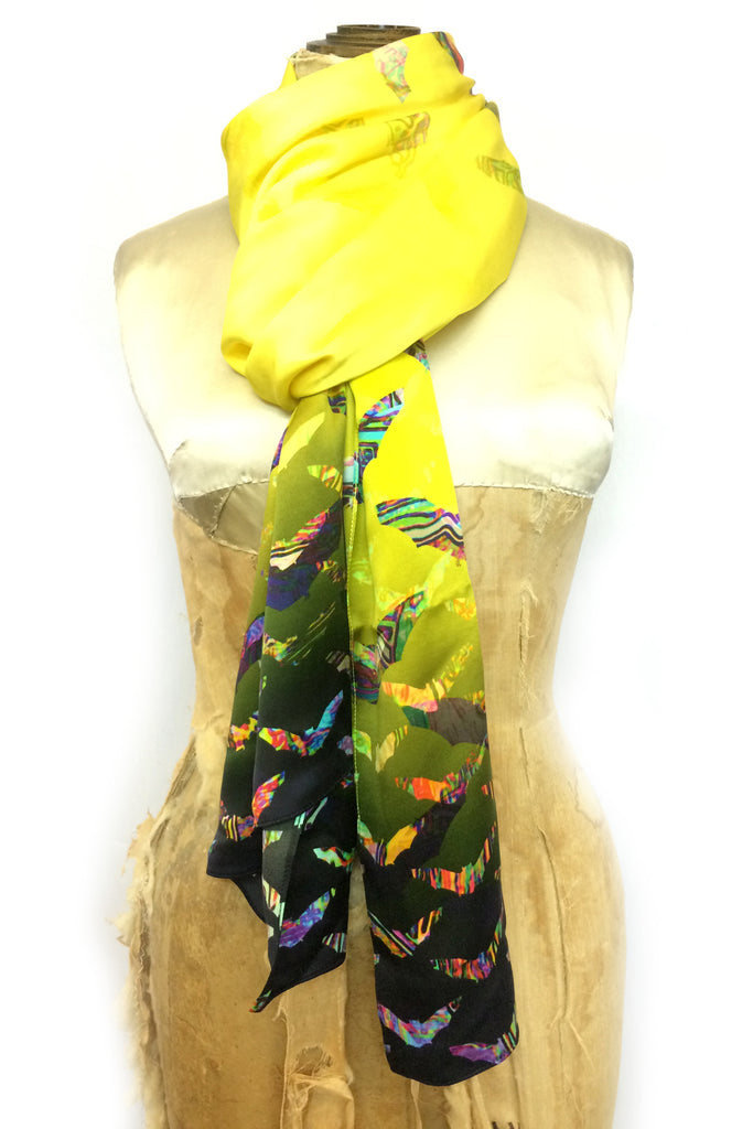DAISY DARCHE PRINT SILK SATIN OPERA SCARF FLUTTERBY YELLOW NAVY