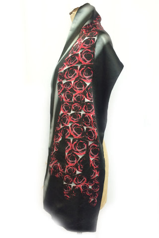 DAISY DARCHE PRINT SILK SATIN PASHMINA CABARET SCARF LADY IN RED