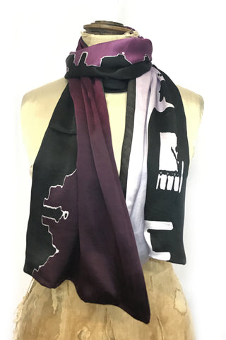DAISY DARCHE SILK SATIN CABARET SCARF LINED IN PASHMINA IN PARIS BY NIGHT PRINT