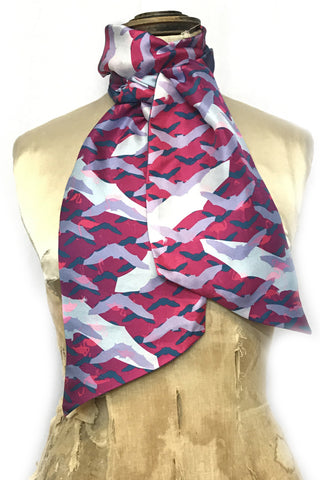DAISY DARCHE PRINTED SILK TWILL LILY REVERSIBLE SCARF IN FLUTTERBY FLAMINGO PINK PRINT