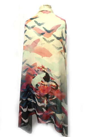 DAISY DARCHE THEA PRINTED WOOL SCARF IN BAT OUT OF HELL WHITE PRINT
