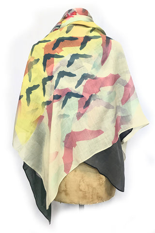 DAISY DARCHE THEA PRINTED WOOL SCARF IN BAT OUT OF HELL YELLOW PRINT