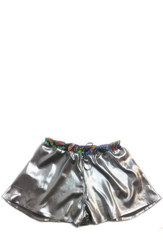 DAISY DARCHE FRENCHIE LIQUID SILVER SHORTS IN IBIZA TRIM