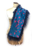 DAISY DARCHE COBALT SHEEPSKIN COLLAR LINED IN SILK SATIN PINK FLAMINGO PRINT