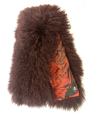 DAISY DARCHE WINE SHEEPSKIN COLLAR LINED IN SILK SATIN LAVA PRINT