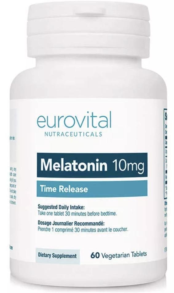 MELATONIN 10mg  - Time Release - 60 Tablets (EUROVITAL NUTRACEUTICALS)