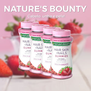 KIT Nature's Bounty Hair, Skin & Nails - Strawberry - 120 Gummies (com frete incluso)