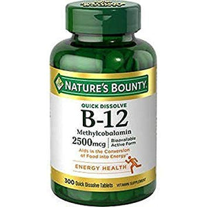 Nature's Bounty B-12 2500 mcg, 300 Quick Dissolve Tablets