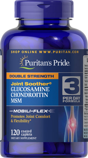 Puritan's Pride Double Strength Glucosamine, Chondroitin & MSM Joint Soother® - 120 Comprimidos