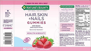 Nature's Bounty Hair, Skin and Nails - 80 Gummies (Morango)