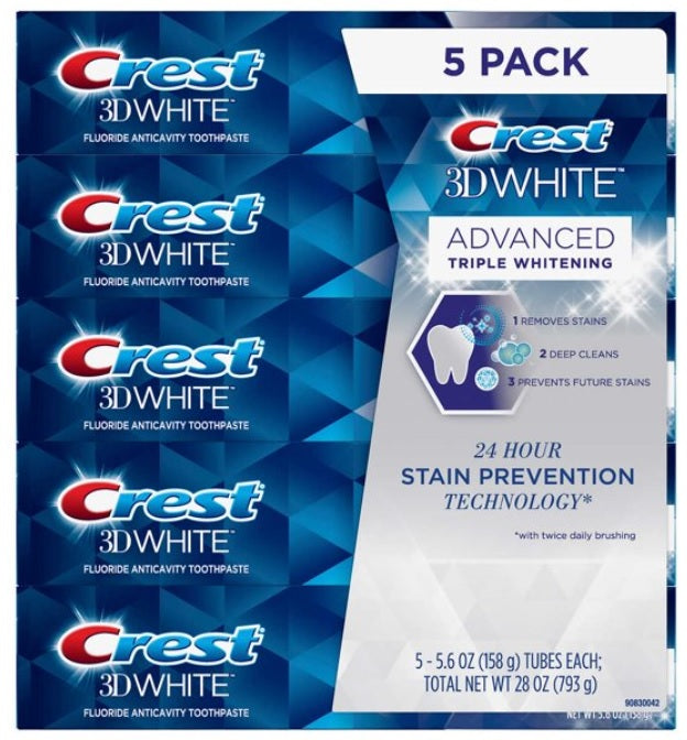 Crest 3D White Advanced Triple Whitening 5-pack