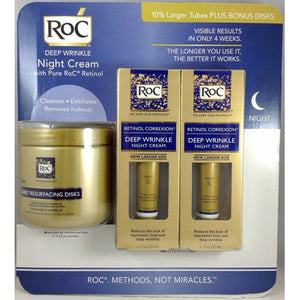 RoC Deep Wrinkle Night Cream Two 1.1 oz Tubes Plus Bonus 28 Resurfacing Disks