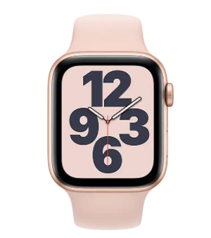 Apple Watch SE Gold Aluminum Case Pink Sand Sport Band - 44mm
