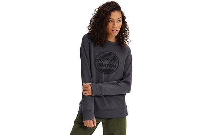 BURTON WOMENS OAK CREW TRUE BLACK HEATHER
