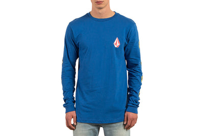 VOLCOM DEADLY STONES LONG SLEEVE TEE TRUE BLUE