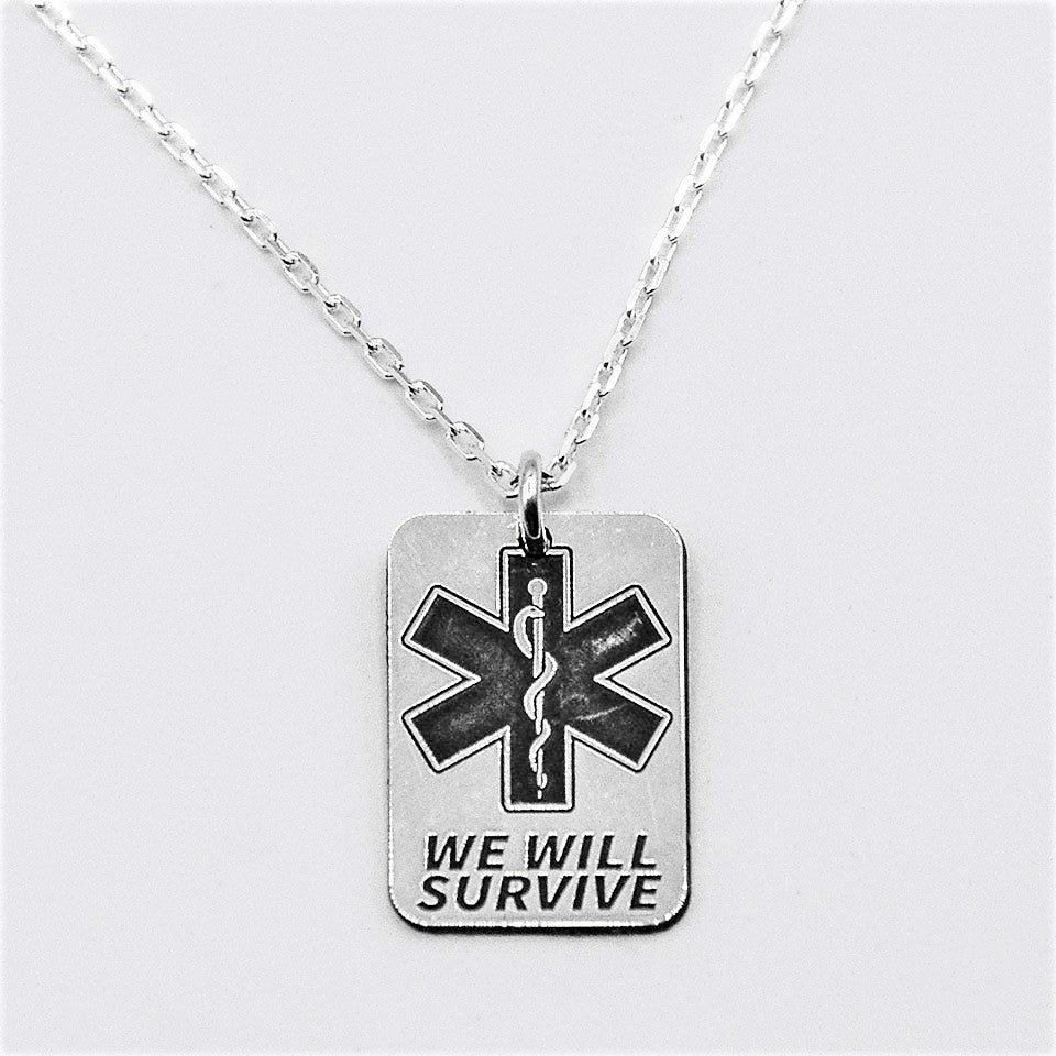 Star of Life We Will Survive Necklace Rectangle