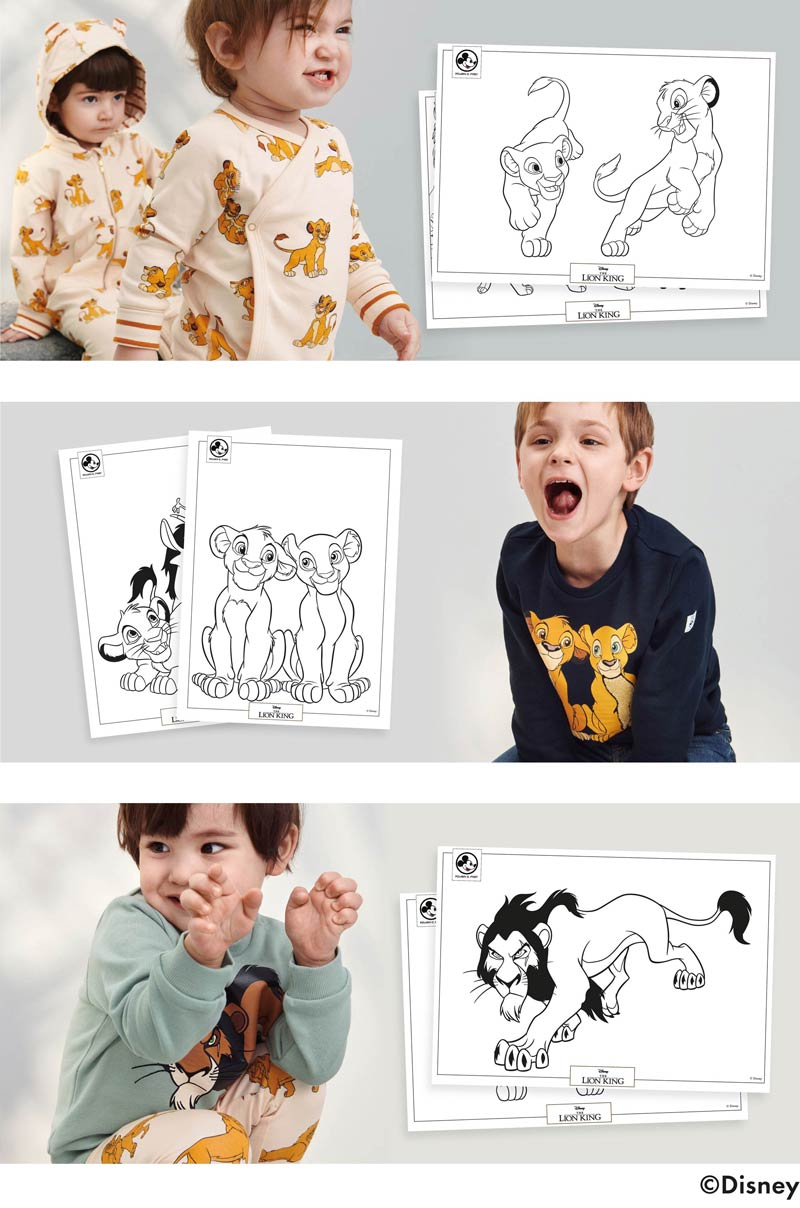 Colour in Simba, Nala and Scar using our brand new colouring sheets. Taking inspiration for our new Disney collection.