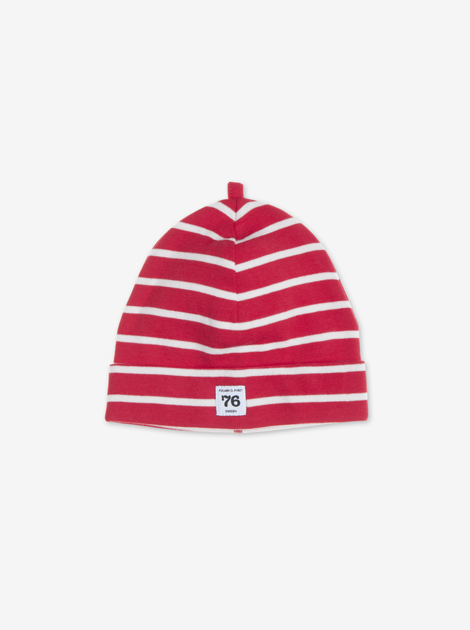 PO.P Stripe Newborn Hat Red Unisex 0-2y