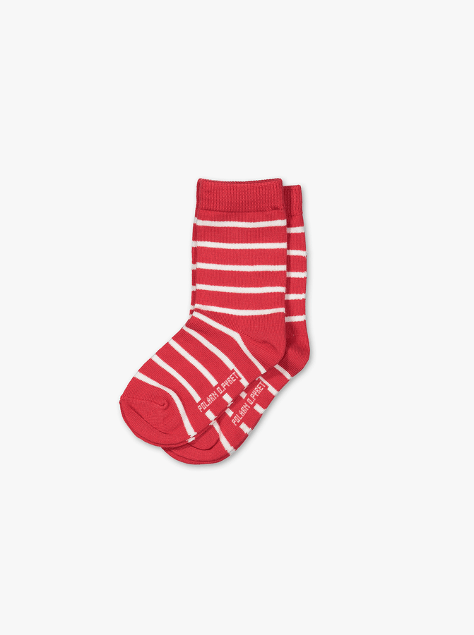 Kids 2 Pack Striped Socks Red Unisex 2-12y