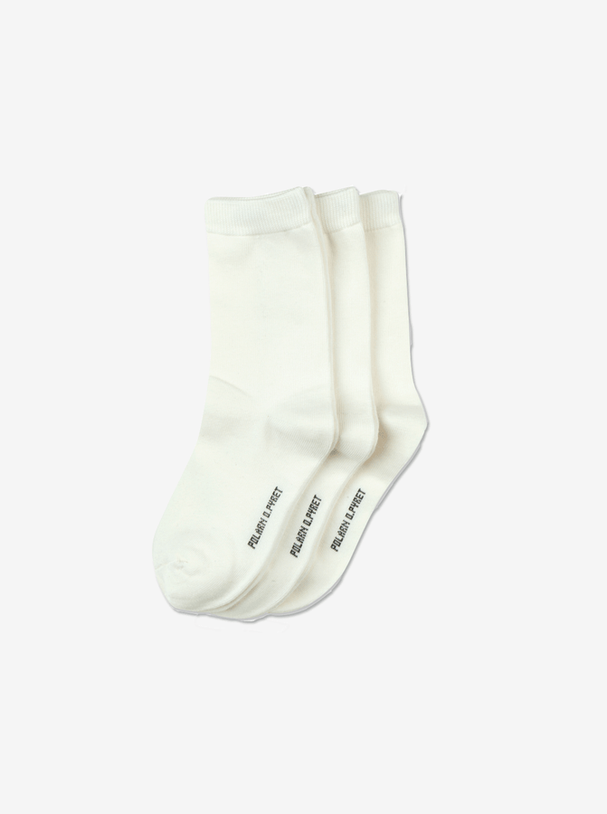 3 Pack Kids Socks White Unisex 2-12y