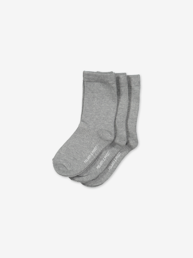 3 Pack Kids Socks Grey Unisex 2-12y