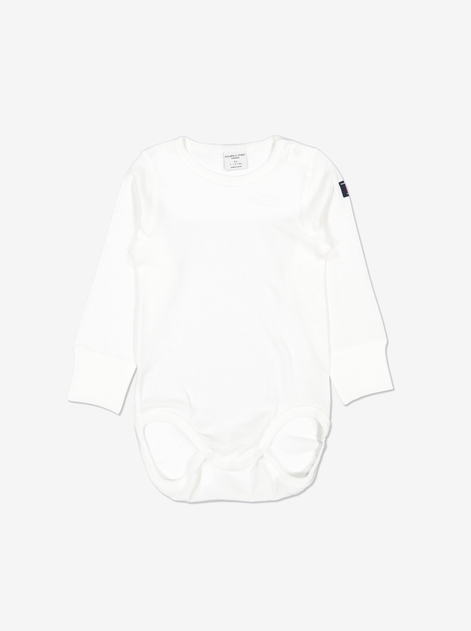 Front view of babygrows for toddlers in a classic white fabric, made from 100% organic cotton material.