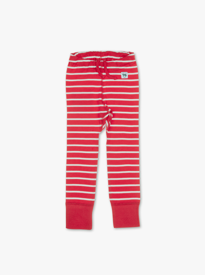 PO.P Stripe Baby Leggings Red Unisex Preterm-2y