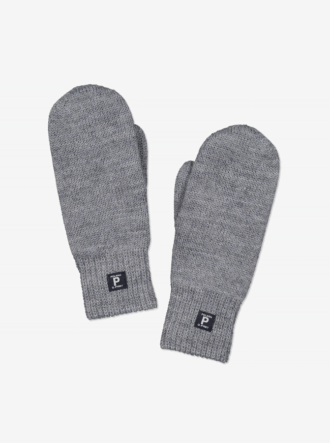 Interlock Wool Gloves -Unisex-Grey-6m-12y