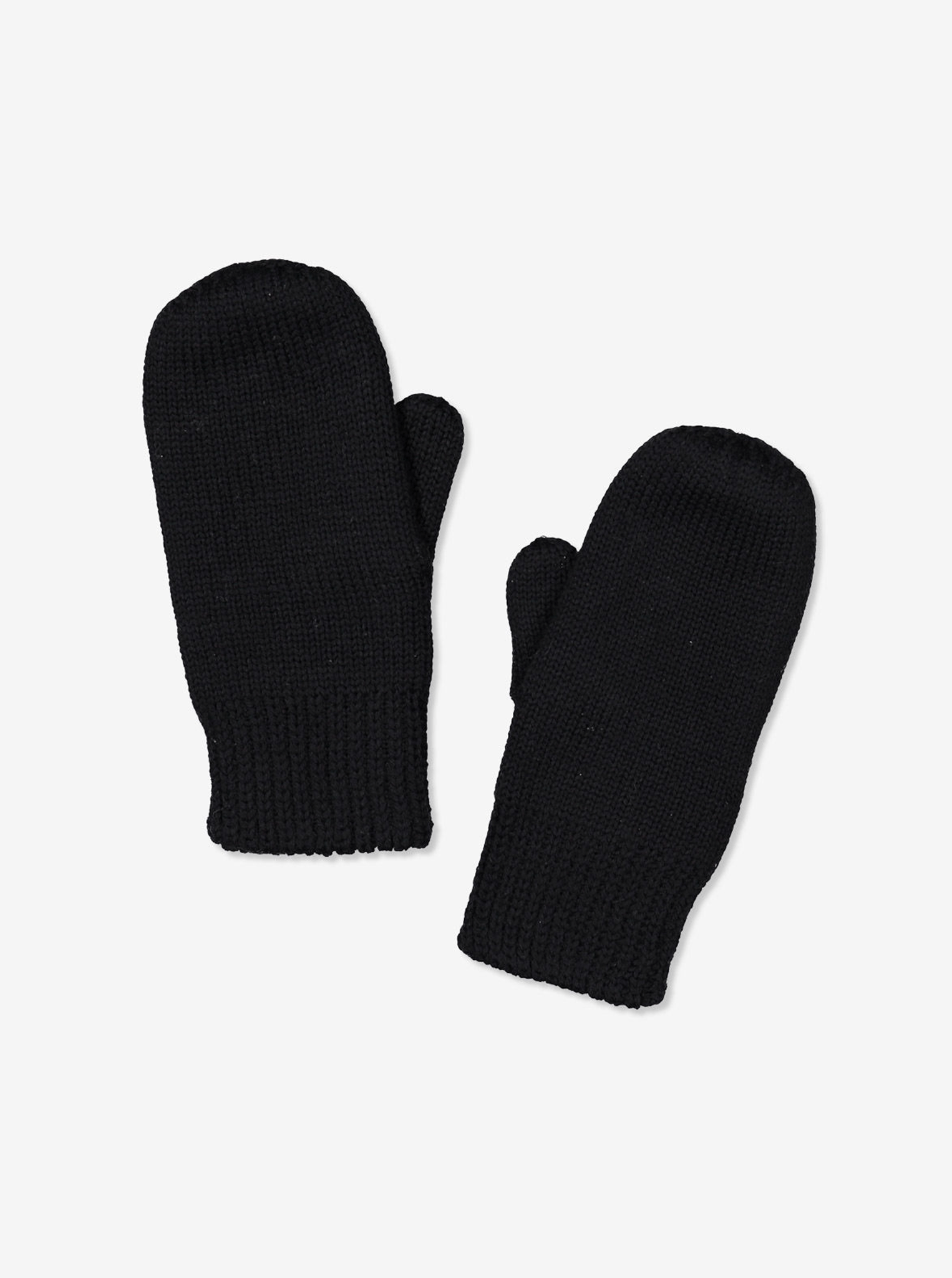 Unisex-Double-Knit Wool Mittens -Black-6m-12y
