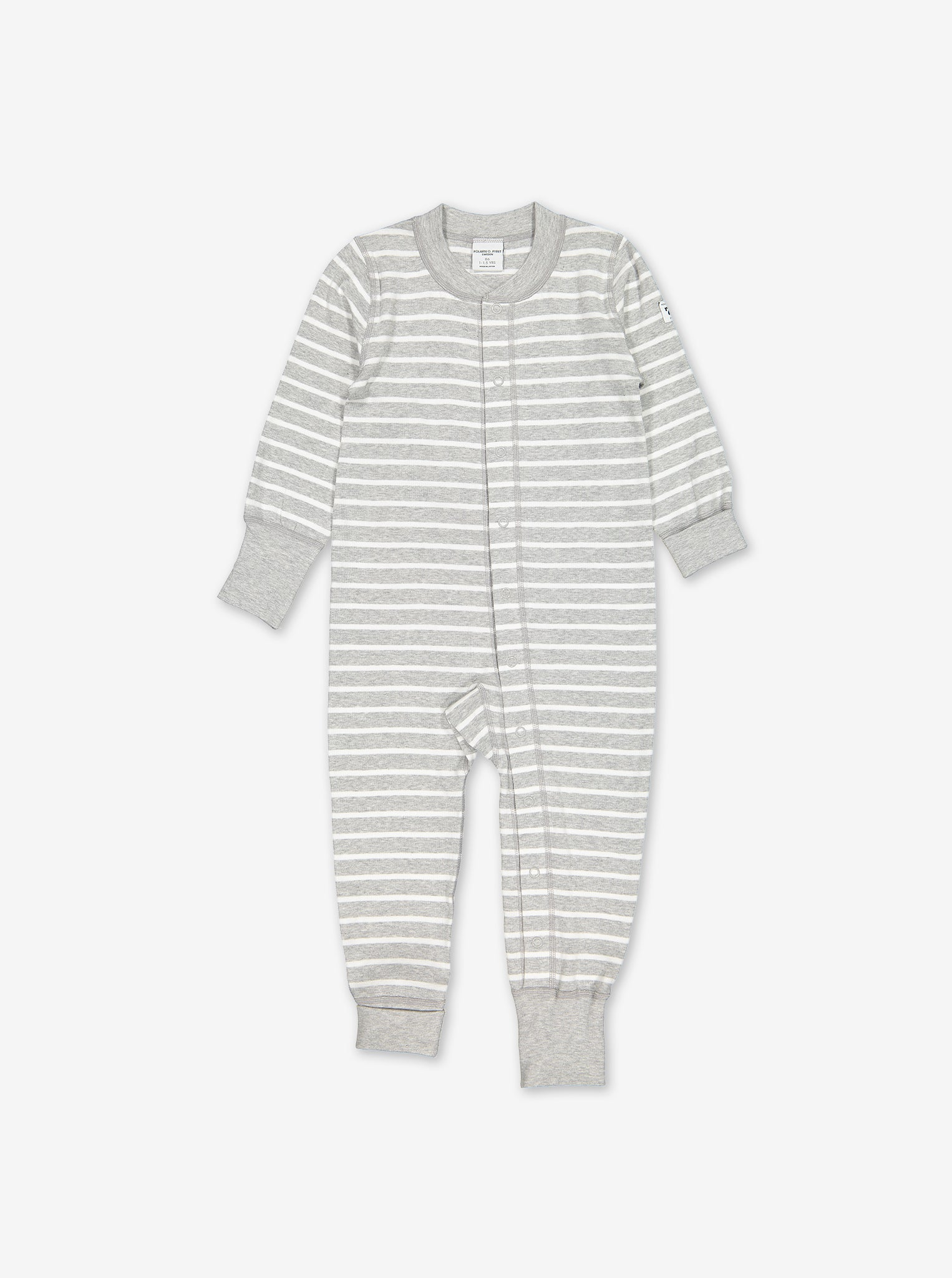 A neutral grey and white stripe print all-in-one for babies, featuring poppers from neck to ankle and roll down cuffs.