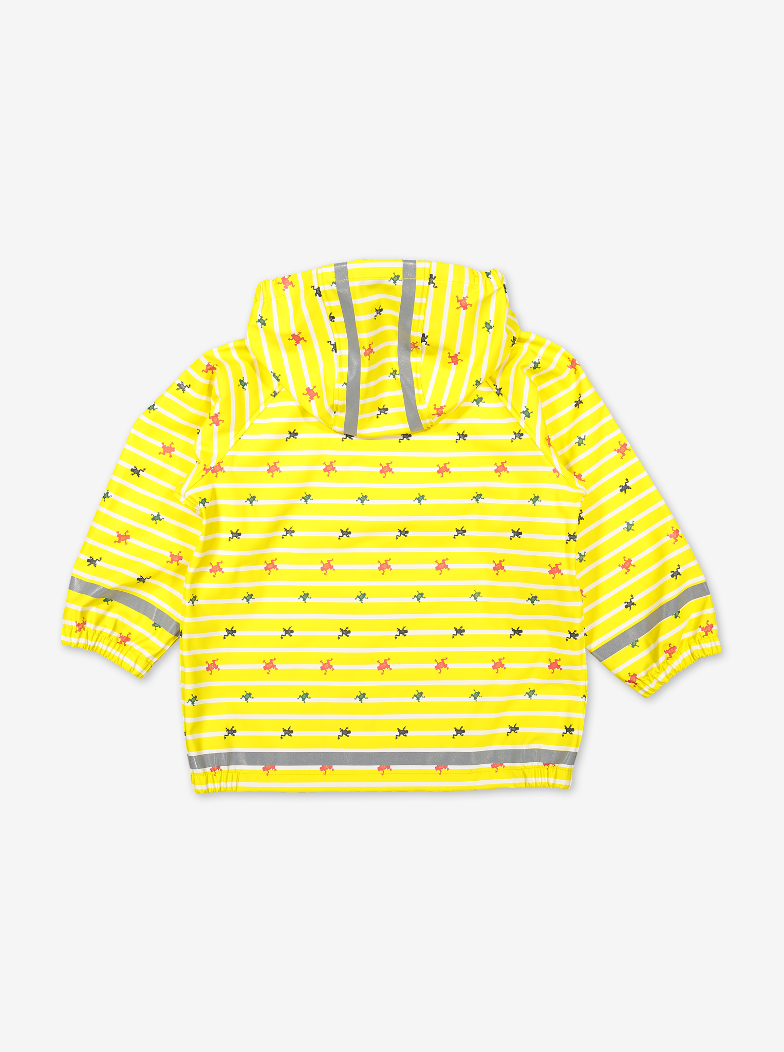 Back view of yellow raincoat for kids, made of polyester, with frog & stripes design, comes with a detachable hood.