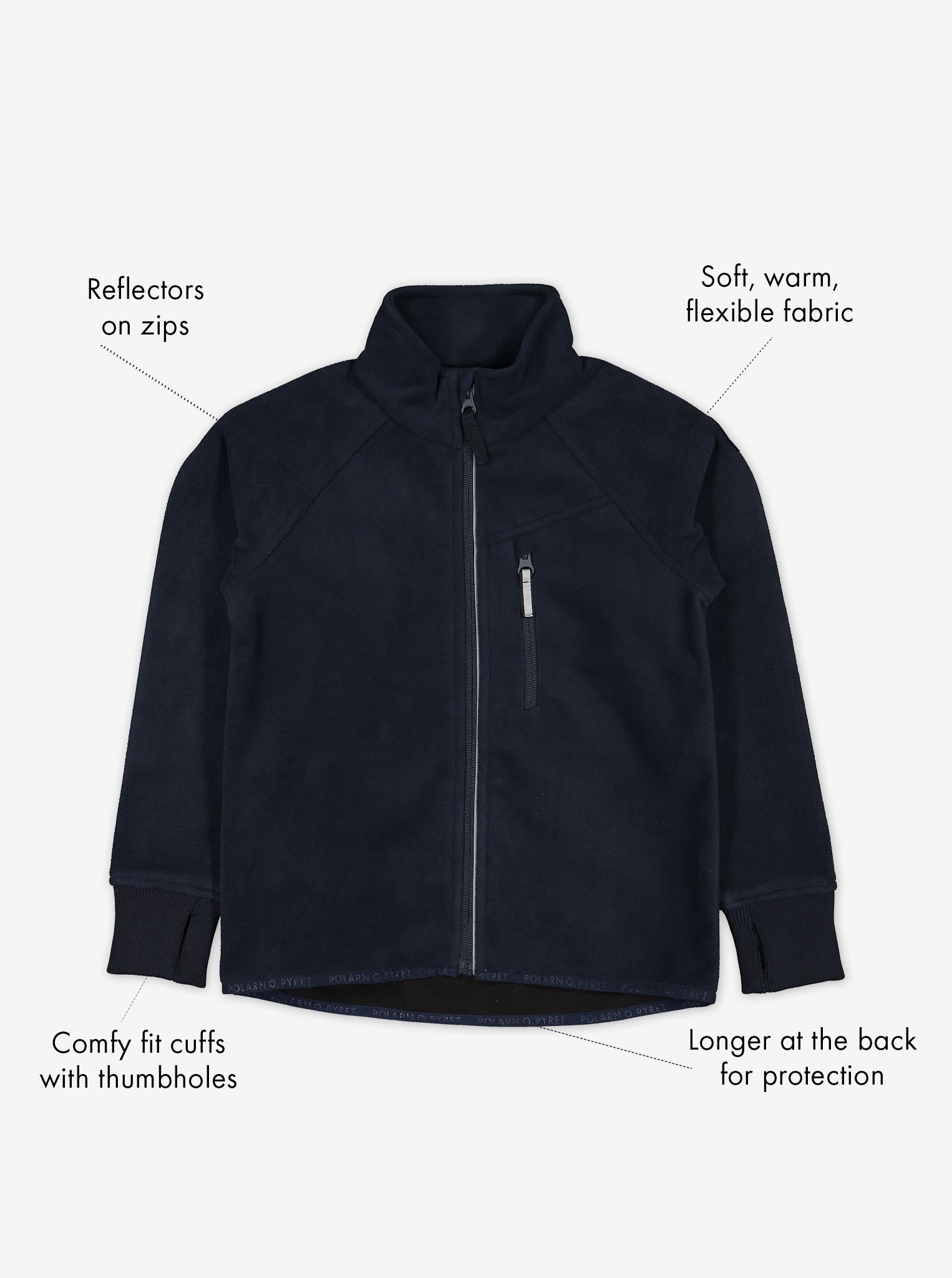 Navy, kids waterproof fleece jacket, with reflectors on zips and cuffs with thumbholes, made of soft and warm fabric.