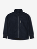 Waterproof kids fleece jacket in navy, with reflectors, front zipper and pocket, made of warm and soft fabric material.
