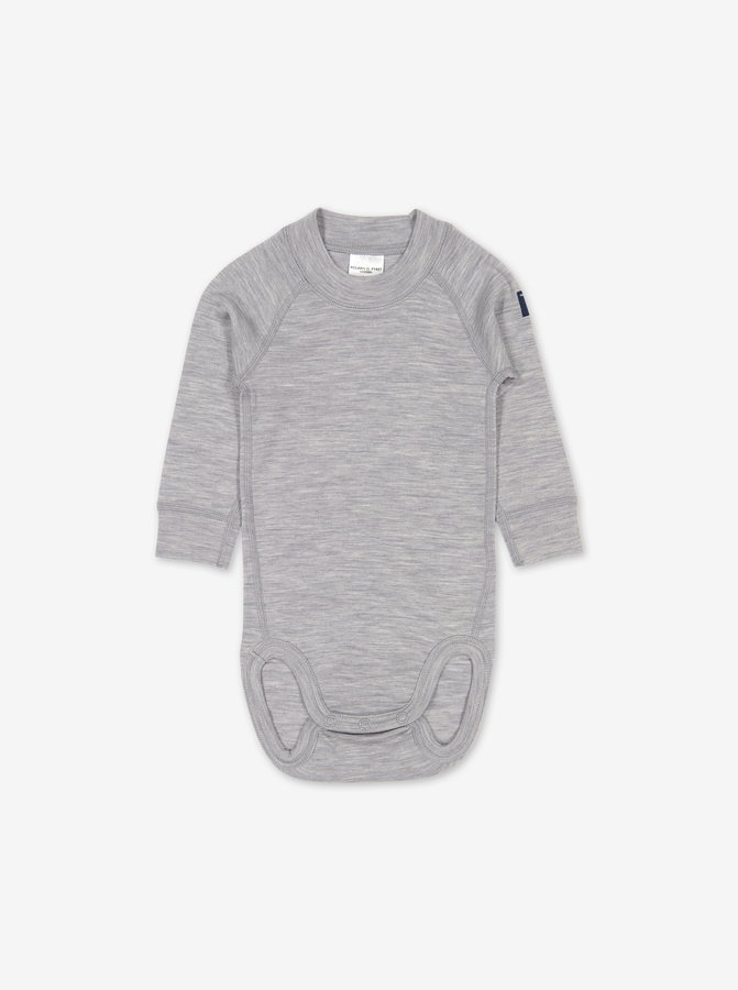 Thermal Merino Baby Bodysuit---Grey---Unisex---0-2y