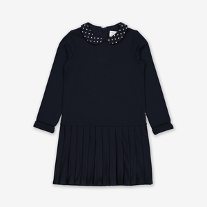 Dotty Collar Pleated Kids Dress