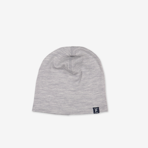 Merino Wool Kids Beanie Hat---Grey---Unisex---4m-12y