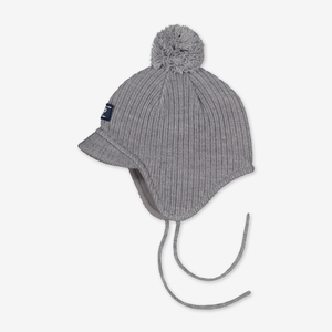 Rib Knit Kids Bobble Hat---Grey---Unisex---4m-9y