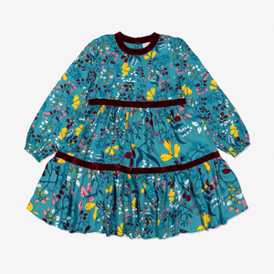 Autumn Fruit Kids Dress Blue