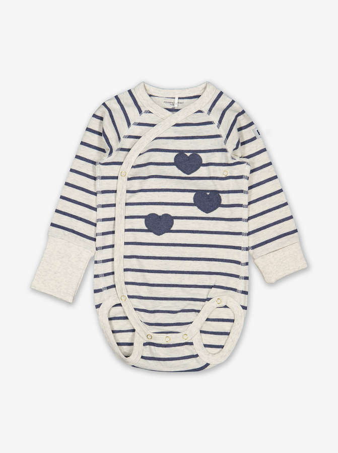 Hearts & Stripes Wraparound Baby Bodysuit Green