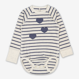 Hearts & Stripes Baby Bodysuit Yellow