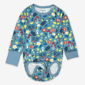 Autumn Floral Baby Bodysuit Blue